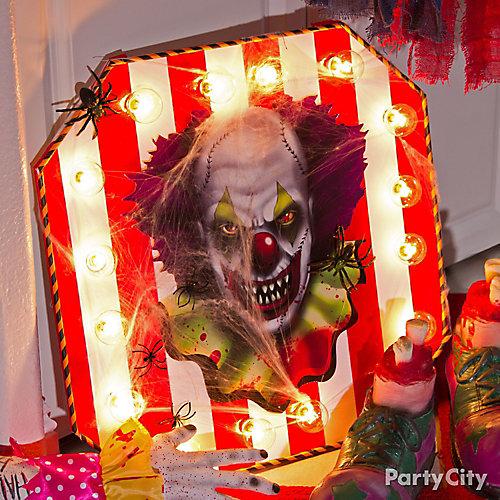 Halloween Light Up Clown Sign DIY