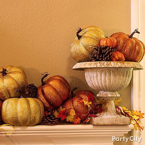 Glitter Pumpkins Mantel Idea