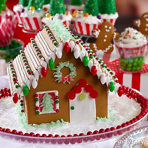 Snowy Gingerbread House Idea