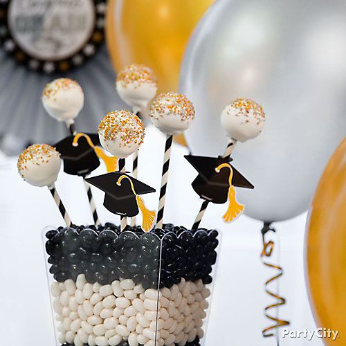 Silver and gold grad cap doughnut pops idea classy
