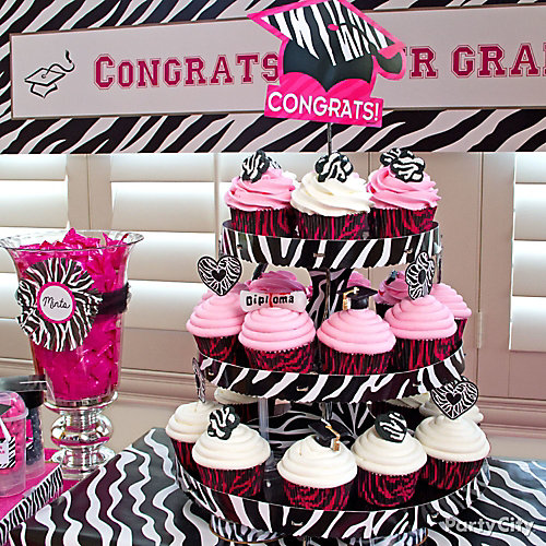 Grad Pink and Zebra Cupcake Tower Idea