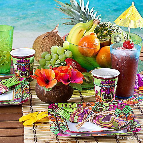 tropical tiki place settings idea summer pool party ideas summer