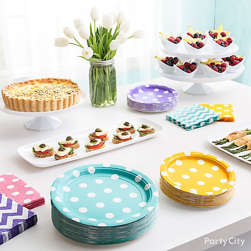 Spring Dots and Chevron Brunch Idea