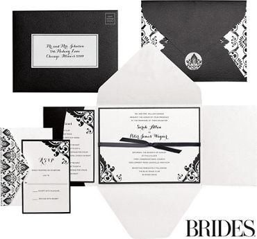 Printable wedding invitations invitation kits party city black white damask printable wedding invitations kit 30ct stopboris Images