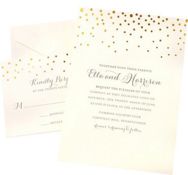 Printable wedding invitations invitation kits party city metallic gold dot printable wedding invitations kit 50ct stopboris Images