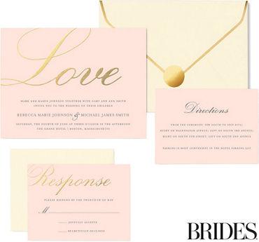 Printable wedding invitations invitation kits party city metallic gold love printable wedding invitations kit 30ct junglespirit Images