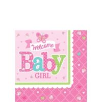 Welcome baby girl baby shower invitations 8ct party city welcome baby girl baby shower beverage napkins 16ct filmwisefo Choice Image