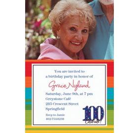 Custom a year to celebrate 100th birthday invitations party city custom a year to celebrate 100th birthday photo invitations filmwisefo Choice Image