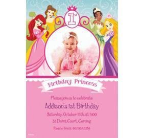 Custom disney princess 1st birthday invitations party city custom disney princess 1st birthday photo invitations filmwisefo