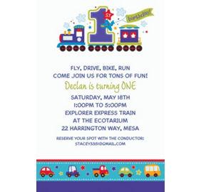 Custom all aboard birthday invitations party city custom all aboard birthday invitations stopboris Gallery