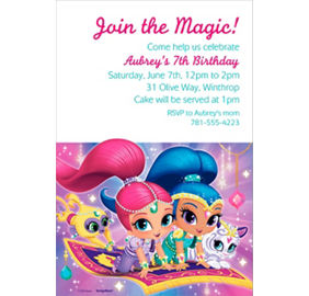 Custom shimmer and shine invitation custom print invitations custom shimmer and shine invitation filmwisefo