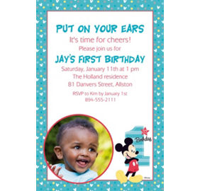 Custom mickey mouse 1st birthday banners invitations thank you custom mickeys 1st birthday photo invitation filmwisefo Images