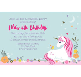 Custom magical unicorn invitations party city custom magical unicorn invitation stopboris