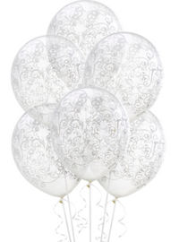Wedding balloons balloon bouquets party city clear filigree balloons 6ct junglespirit Images