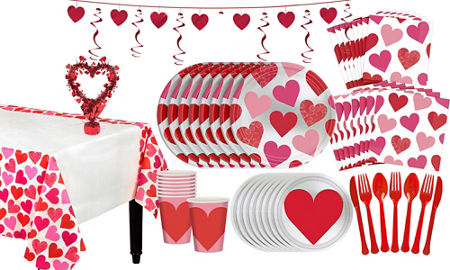 Key to Your Heart Valentine's Day Tableware Kit for 8 Guests