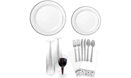 White Silver-Trimmed Premium Plastic Square Dessert Plates 8ct ...