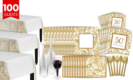 Golden 50th wedding anniversary party supplies 50th anniversary golden wedding bridal shower tableware kit for 100 guests junglespirit Image collections