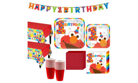 Elmo 1st birthday party supplies party city 1st birthday elmo party kit for 16 guests filmwisefo Image collections