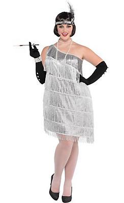 Adult Sparkling Silver Flapper Costume Plus Size