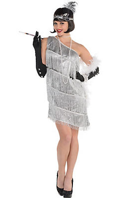 Adult Sparkling Silver Flapper Costume