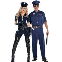 Adult Stop Traffic Sexy Cop & On Patrol Police Couples Costumes