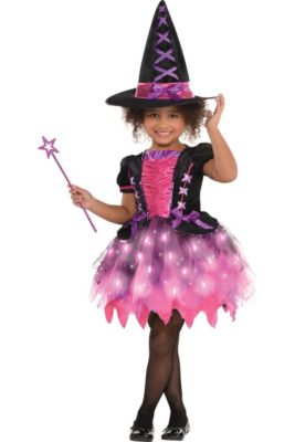 9b81ec76d7e Girls Light-Up Sparkle Witch Costume