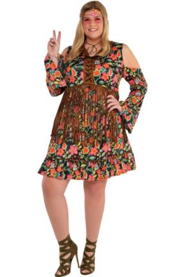 Adult Flower Power Hippie Costume Plus Size