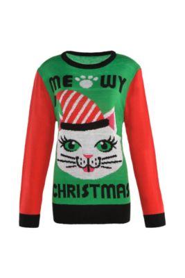 adult meowy christmas cat ugly christmas sweater - Griswold Ugly Christmas Sweater