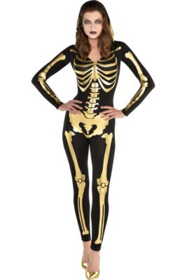 womens 24 carat bones skeleton costume