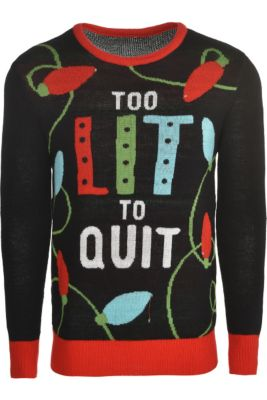 4b2dcb28b Light-Up Too Lit To Quit Ugly Christmas Sweater