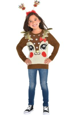 2cf01df5c40 Child Reindeer Ugly Christmas Sweater