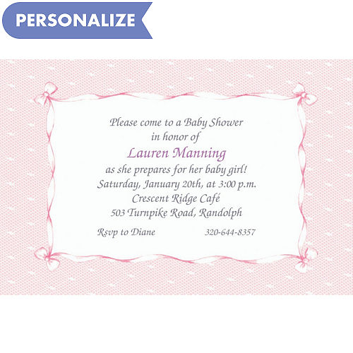 Custom baby shower invitations baby shower invites party city custom pink lace bows baby shower invitations filmwisefo