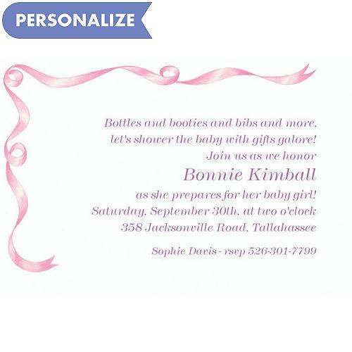 Custom baby shower invitations for girls party city custom simple pink ribbon baby shower invitations filmwisefo