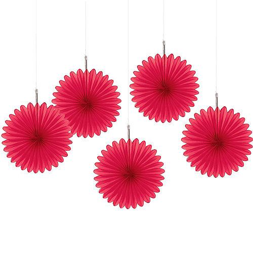 Red Mini Paper Fan Decorations 5ct