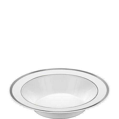 780113c5938 White Silver Premium Tableware - Silver Trim Premium Plastic Plates ...