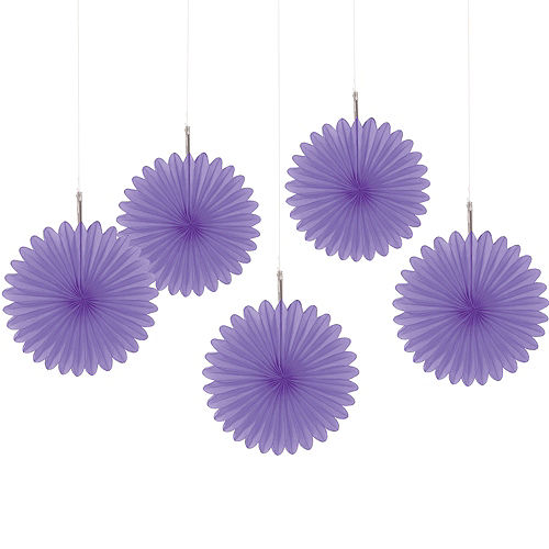 Purple Mini Paper Fan Decorations 5ct