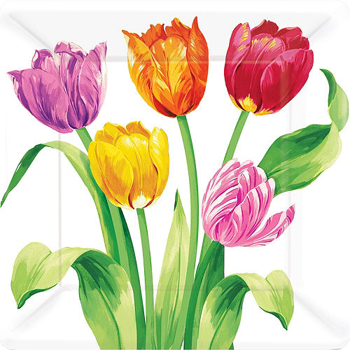 Spring party supplies themes decorations party city spring tulips lunch plates 8ct mightylinksfo