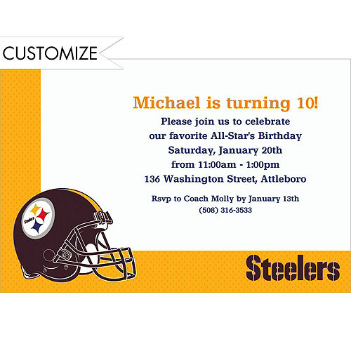 Nfl pittsburgh steelers party supplies party city custom pittsburgh steelers invitations filmwisefo