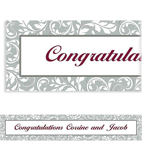 Custom Silver Wedding Banner 6ft