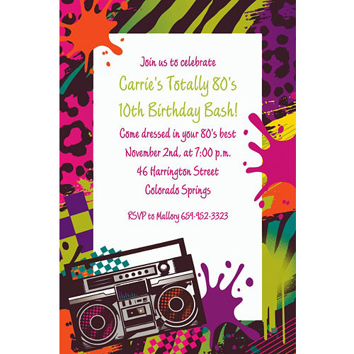 Custom Totally 80s Invitations