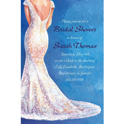 custom bride in gown light bridal shower invitations