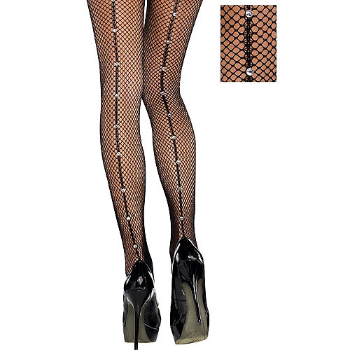 d29cc2dca Adult Black Fishnet Pantyhose with Rhinestone Seam
