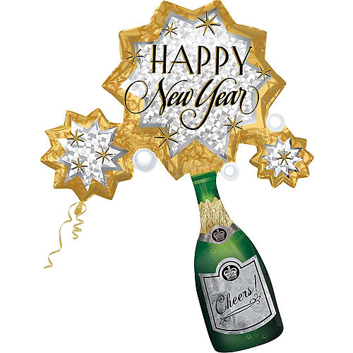 Champagne Burst Happy New Year Balloon 46in x 37in | Party City
