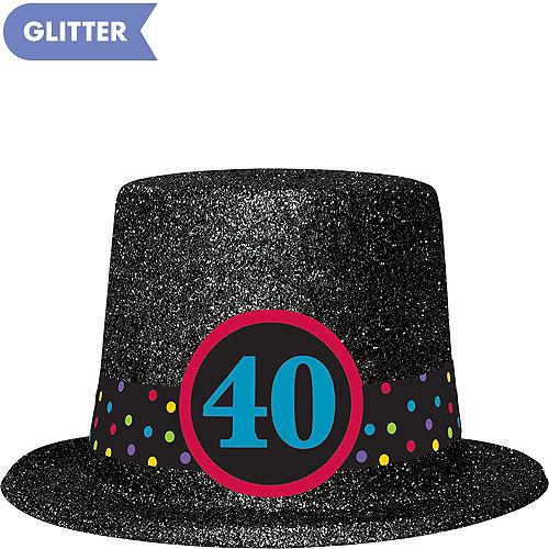 Glitter 40th Birthday Top Hat 9 1 2in X 4