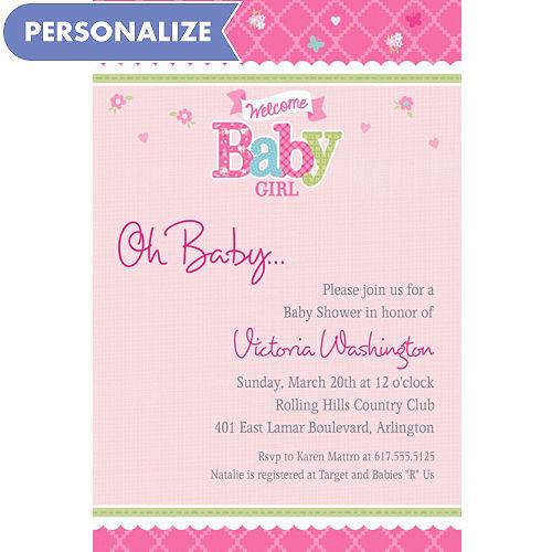 Custom baby shower invitations baby shower invites party city custom welcome little one girl invitations filmwisefo