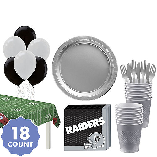 163559072 Super Oakland Raiders Party Kit for 18 Guests