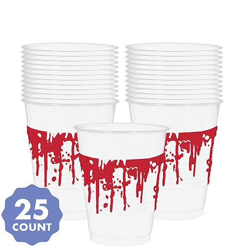Blood Splatter Plastic Cups 25ct