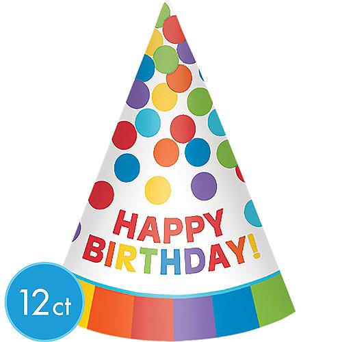 54d5f4e2bbf8f Rainbow Happy Birthday Party Hats 12ct