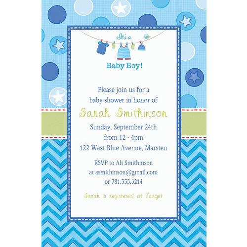 Custom Baby Shower Invitations For Boys Party City
