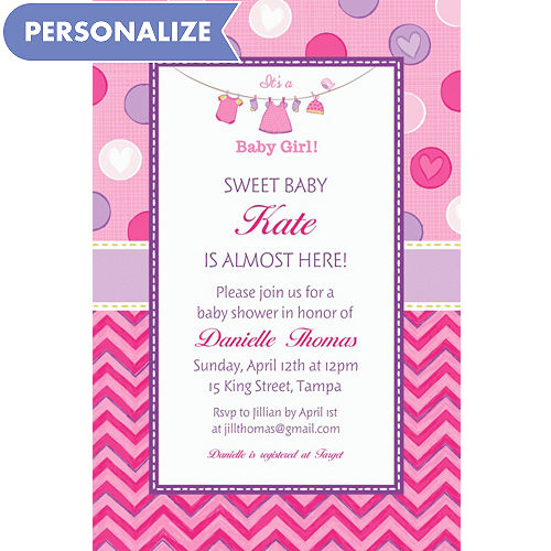 Custom baby shower invitations for girls party city custom shower with love girl invitations filmwisefo